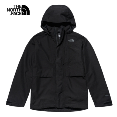The North Face北面男款黑色防水透氣衝鋒衣|46L6JK3