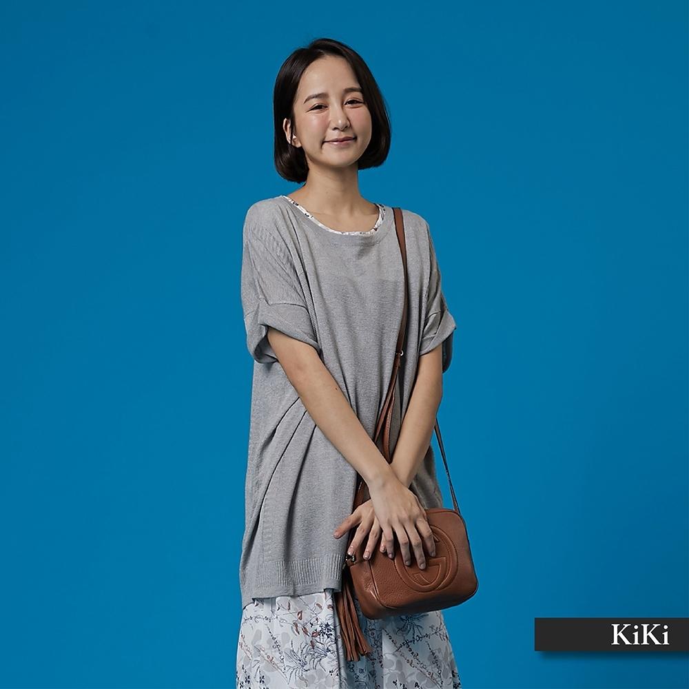 【KiKi】素面折袖設計舒適-針織衫(三色)