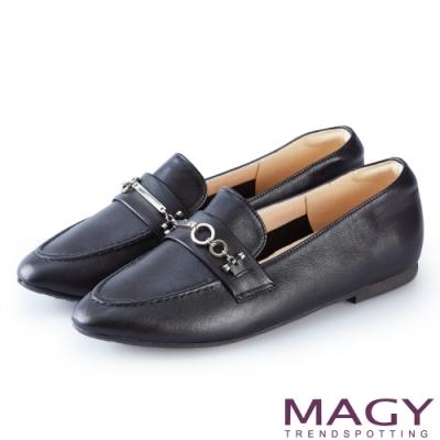 MAGY 復古潮流 氣質釦環牛皮百搭平底鞋-黑色
