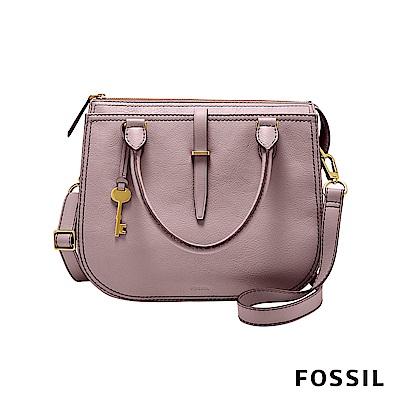 FOSSIL RYDER 真皮圓弧手提/側背兩用包-蘭花粉色