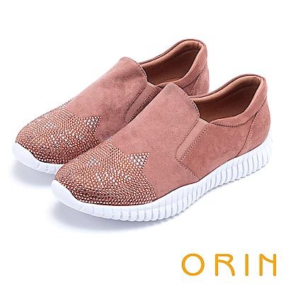 ORIN 休閒時尚風 趣味貓咪燙鑽厚底休閒鞋-粉紅