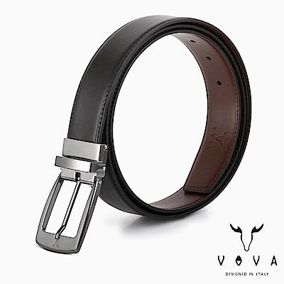 VOVA - 休閒紳士穿針式髮絲紋皮帶 - 銀色