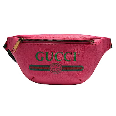GUCCI 復古風格的圖案小牛皮綠紅綠織帶腰包/斜背包(小-粉紅玫瑰)