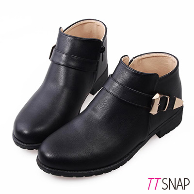 TTSNAP短靴 MIT率性單釦帶低跟踝靴 黑