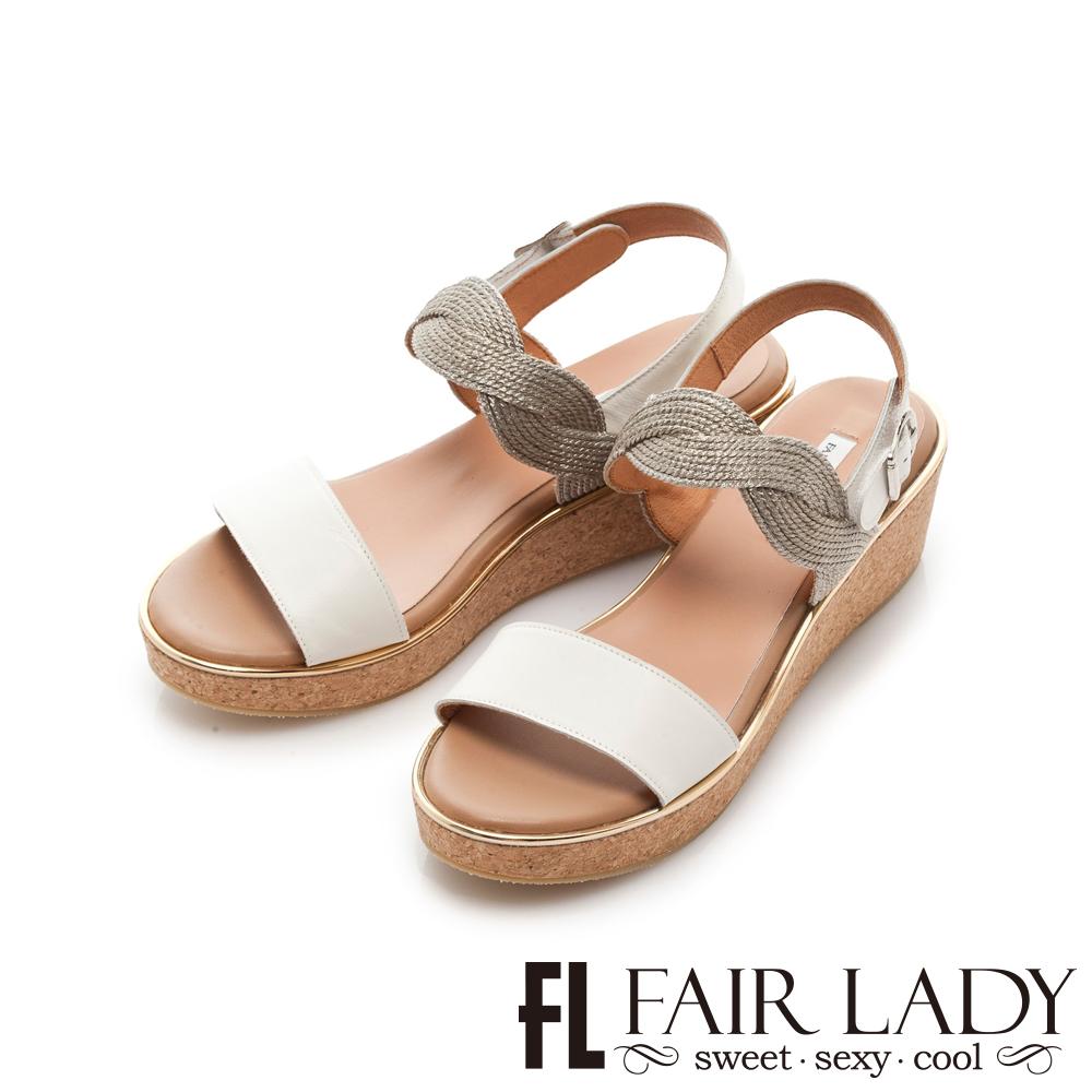 Fair Lady 光澤感波浪編織一字楔型涼鞋 白