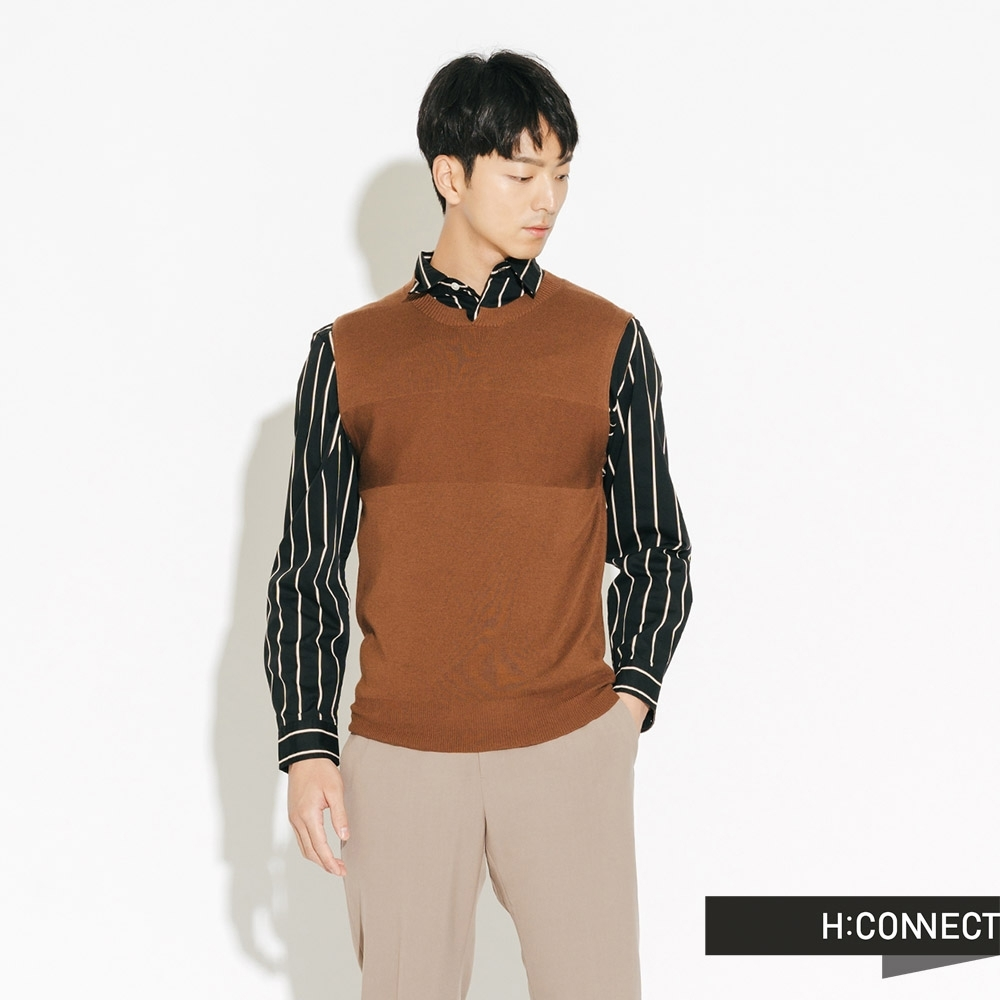 H:CONNECT 韓國品牌 男裝-基本素面針織背心-棕