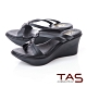 TAS立體雙結繫帶厚底楔型涼鞋-實搭黑 product thumbnail 1