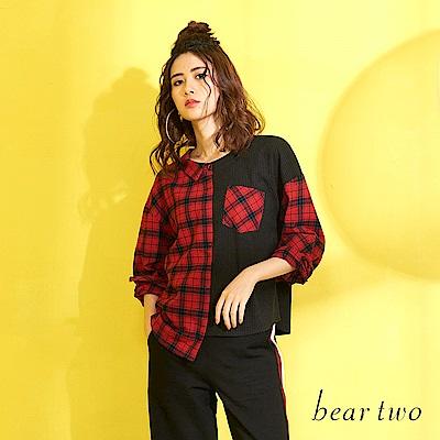 beartwo 不對襯異材質拼玩美襯衫上衣(二色)