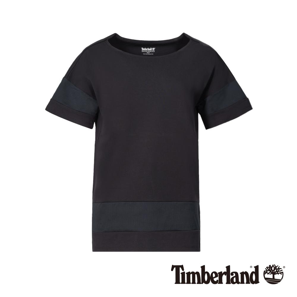 Timberland 女款黑色防UV拼接網格短袖T恤|B3514