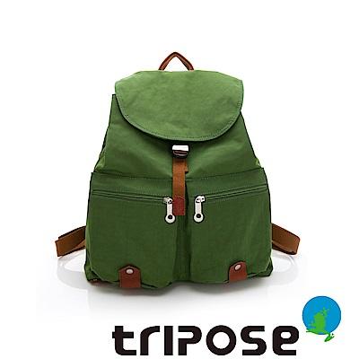 tripose MEMENTO系列微皺尼龍輕量防潑水後背包-大(草地綠)