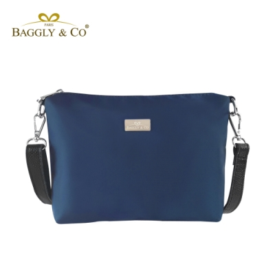 【BAGGLY&CO】輕量防潑水尼龍真皮背帶側背包(藍色)