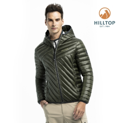 【hilltop山頂鳥】男款輕量超潑水保暖蓄熱羽絨短大衣PF22XMZ3ECM0橄欖綠