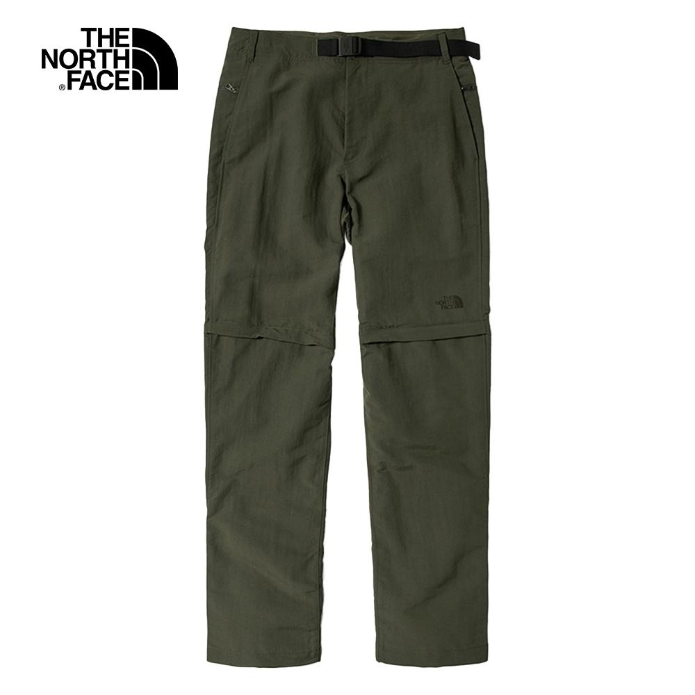 The North Face北面男款綠色吸濕排汗防潑水戶外徒步褲|4UAO21L