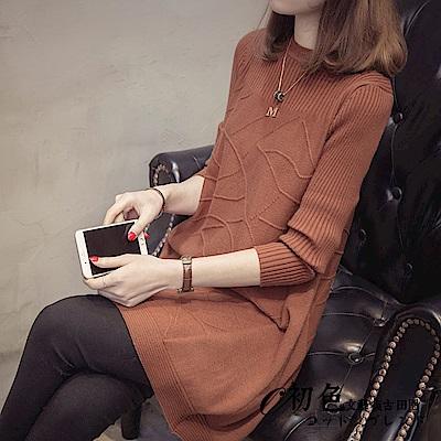純色寬版針織連衣裙-共3色(F可選)   初色