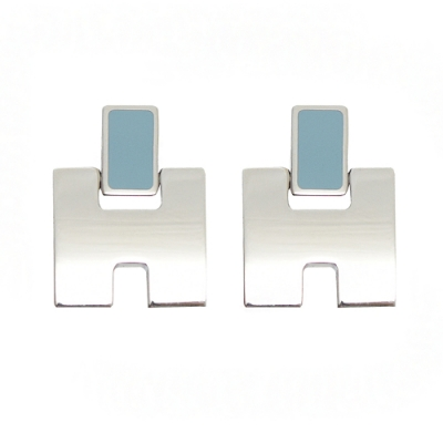 HERMES Eileen LOGO造型耳環(銀/粉藍)