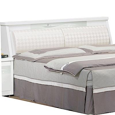 綠活居 羅利略時尚白5尺皮革雙人床頭箱-150x30x93cm-免組