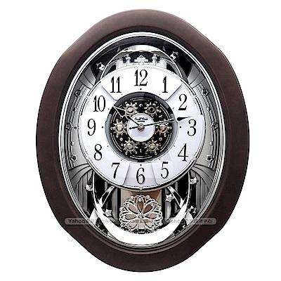 RHYTHM日本麗聲 歐式城堡風格魔幻星夜音樂舞台報時掛鐘/53cm