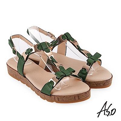 A.S.O 希臘渡假 蝴蝶結鍊飾全真皮羅馬休閒涼鞋 綠