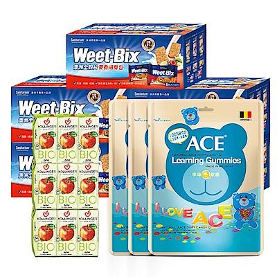 WEET-BIX 麥香隨身包5入+荷林紅蘋果汁18瓶+ACE字母Q軟糖3入