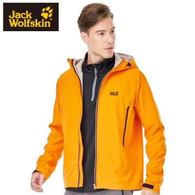 【Jack wolfskin 飛狼】男 Softshell 連帽防風防潑水保暖外套 軟殼衣『芥末黃』