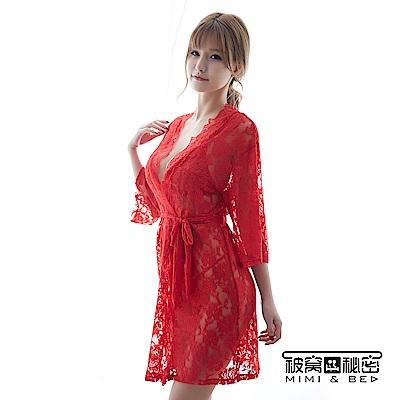 情趣內衣 法式蕾絲比基尼三件式睡衣組。紅色  被窩的秘密