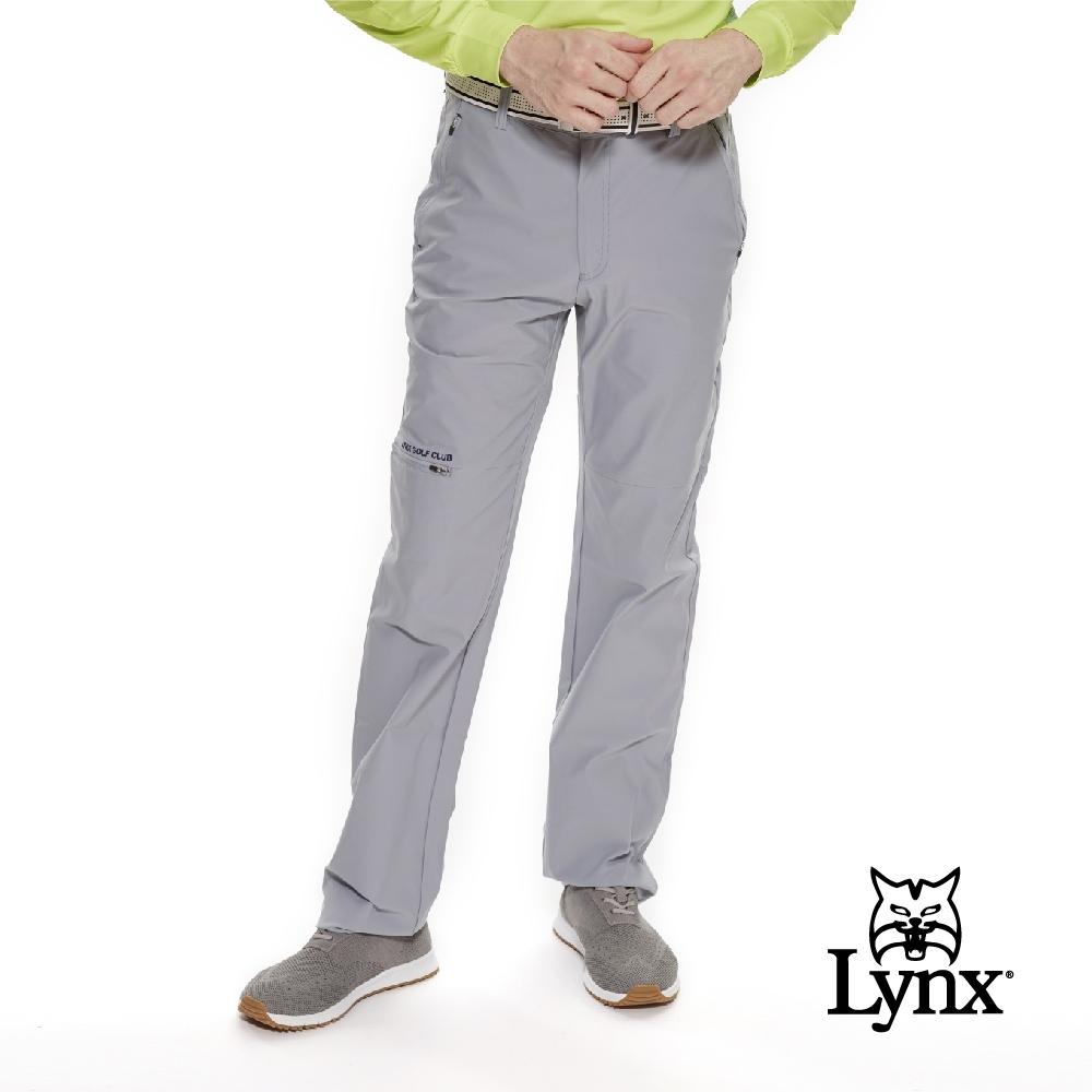 【Lynx Golf】男款瑞士3XDRY吸濕速乾防潑水平口休閒長褲-灰色