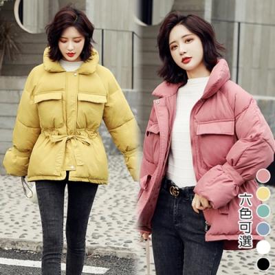 【韓國K.W.】綁帶浪漫輕量科技羽绒短外套(六色可選)