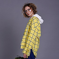 gozo 抽繩袖撞色格紋長袖襯衫(黃色)