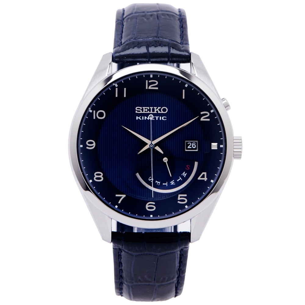 SEIKO KINETIC 簡約經典款皮革錶帶人動電能手錶(SRN061P1)-藍色面X黑色/42mm