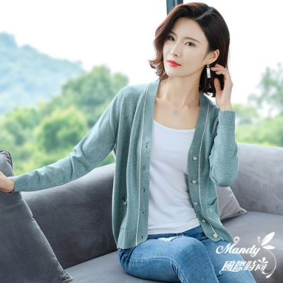 Mandy國際時尚 薄款V領線條字母針織外套(5色)  【韓國服飾】
