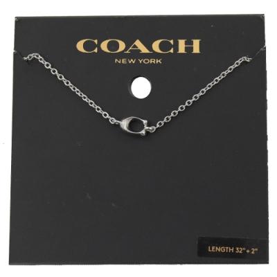 COACH 小C LOGO造型項鍊(銀)