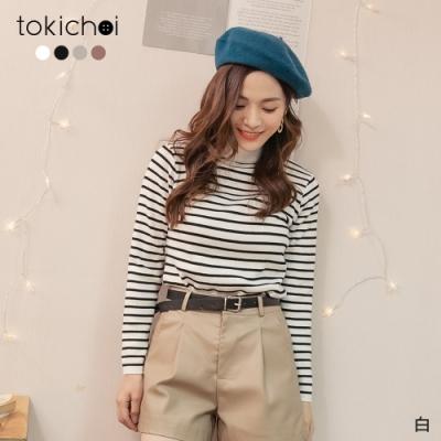 東京著衣 休閒韓系微高領條紋針織上衣
