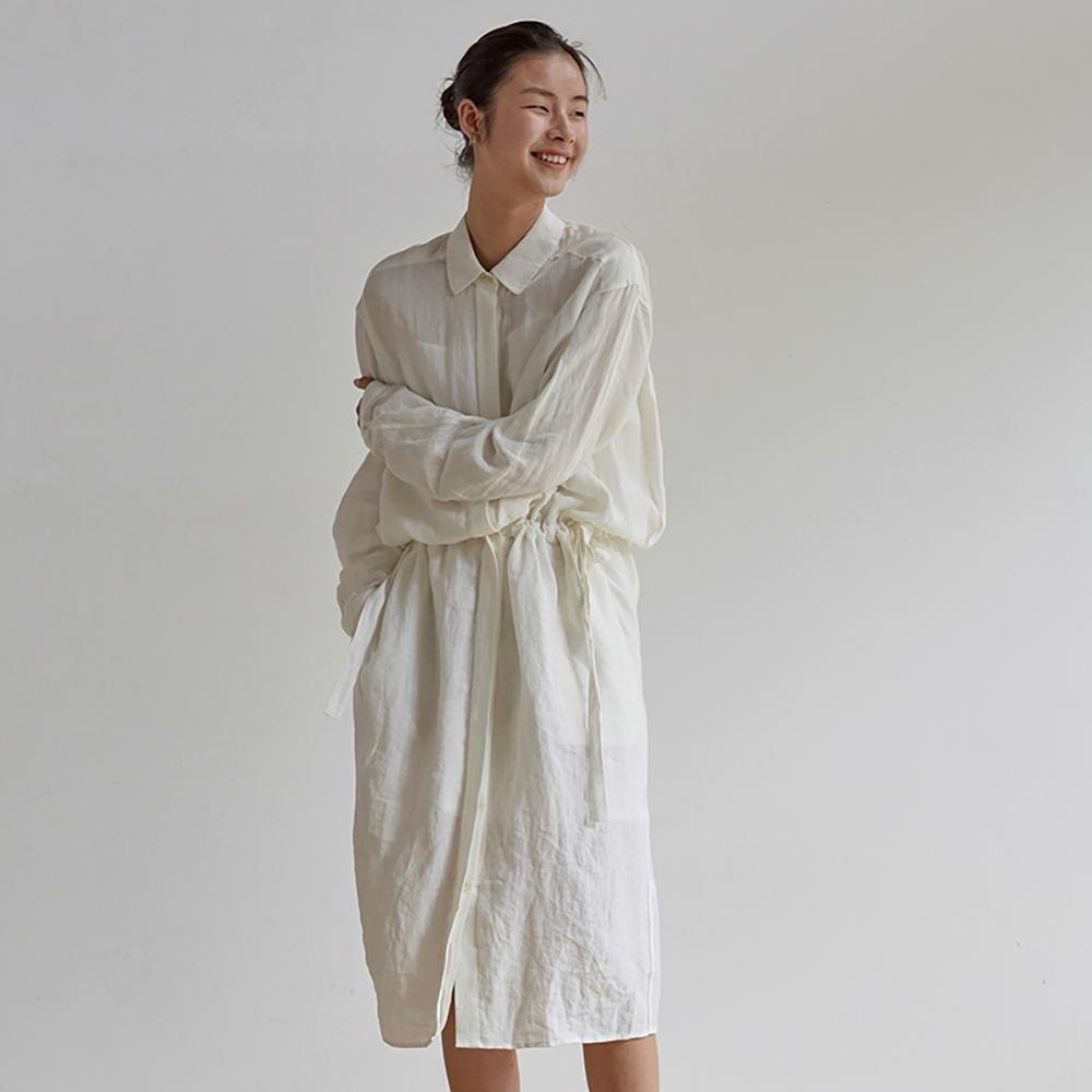 旅途原品_日光輕柔_原創設計亞麻風衣式連衣裙-米白色