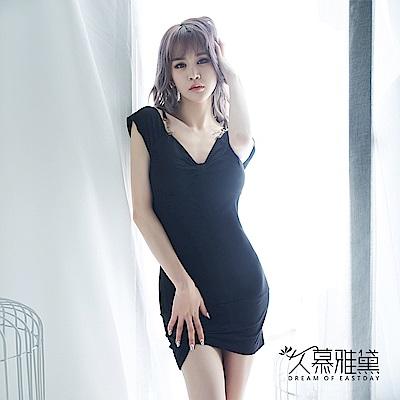 性感睡衣 黑色性感V領優雅連身裙睡衣 久慕雅黛