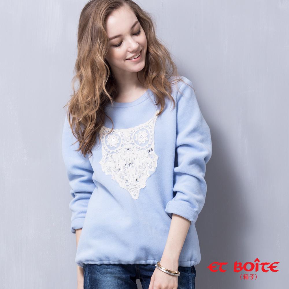 ETBOITE 箱子 BLUE WAY 蕾絲貓頭鷹毛呢T-兩色 product image 1