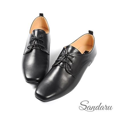 山打努SANDARU-紳士鞋 簡約素面皮革方頭小皮鞋-黑
