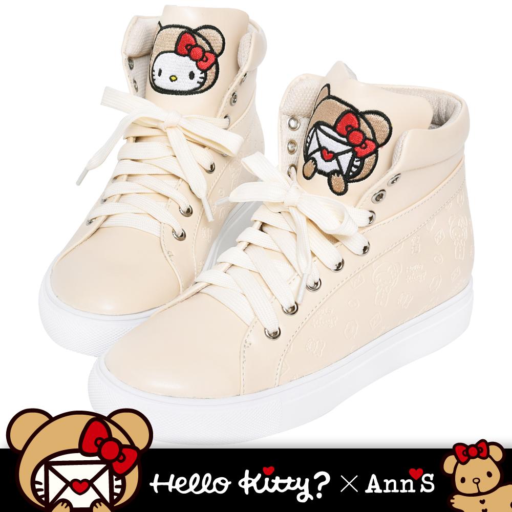 HELLO KITTY X Ann'S棕色熊熊亂花烙印鞋舌刺繡皮革內增高球鞋