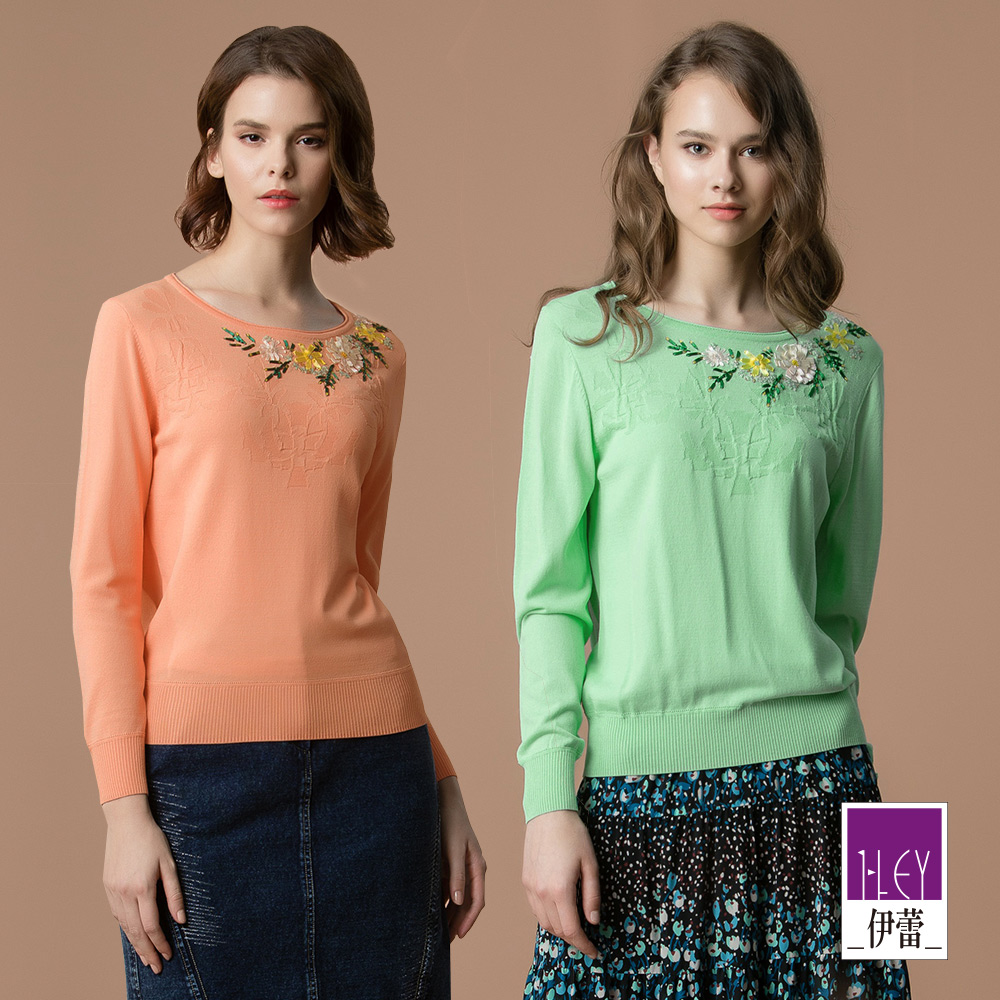 ILEY伊蕾 緞帶立體花針織上衣(桔/綠)
