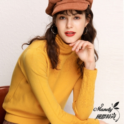 Mandy國際時尚 長袖上衣 秋 高領羊毛堆堆領針織毛衣(10色)