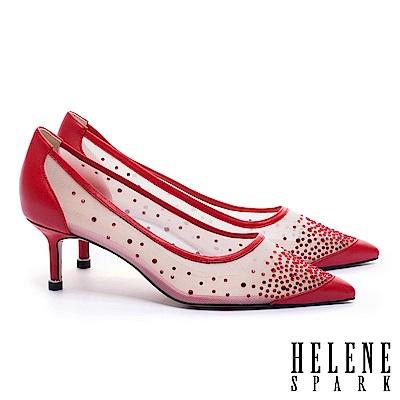 高跟鞋 HELENE SPARK 性感透膚晶鑽網紗羊皮尖頭高跟鞋-紅