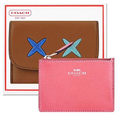 COACH 焦糖色皮革證件名片短夾+COACH 粉紅色珠光防刮皮革鑰匙零錢包