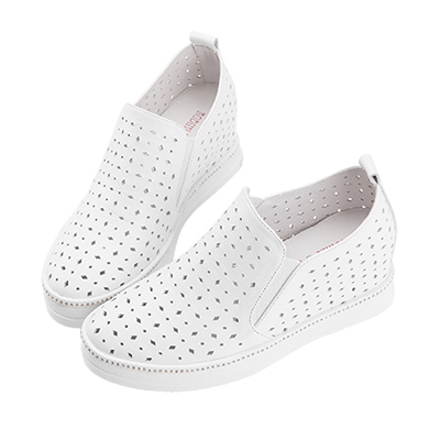 Robinlo 經典幾何沖孔側邊鑲鑽內增高休閒鞋 白