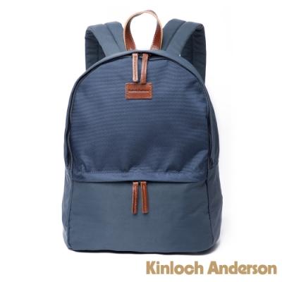 【金安德森】Natural Trend  原革皮標圓弧拉鍊後背包-藍色