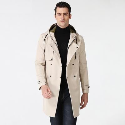 米蘭精品 風衣外套休閒大衣-連帽長版寬鬆抗皺男外套3色73yw5