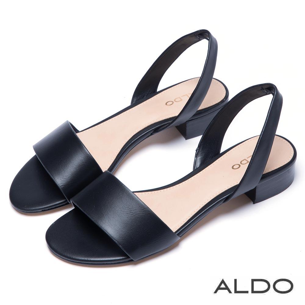 ALDO 原色寬版一字拉帶式粗跟涼鞋~尊爵黑色