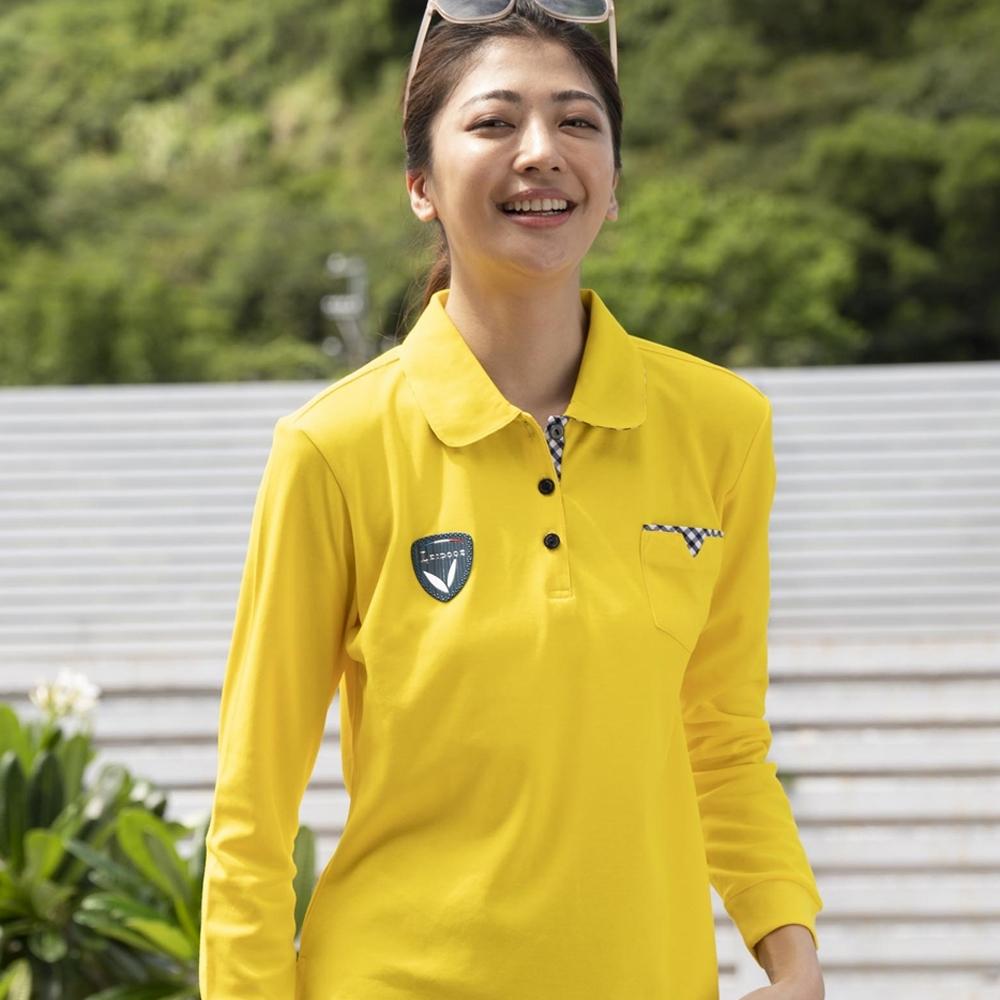 LEIDOOE格紋口袋休閒女版長袖POLO衫55206黃色
