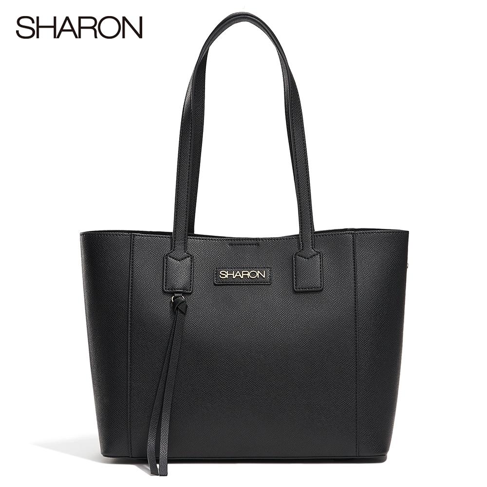 【SHARON 雪恩】頭層牛皮Emma領結裝飾托特包(黑色32107BK)