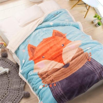 Carolan-圍巾狐狸 雙層加厚 法萊/羊羔絨童毯(100x140cm)
