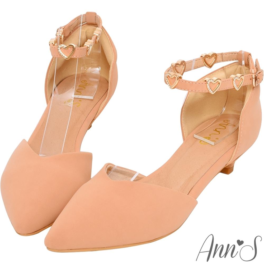 Ann'S愛心光波-甜美愛心鑽性感繫帶低跟尖頭鞋-粉