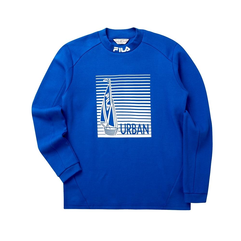 FILA 男半高領T恤-藍色 1TET-5700-BU